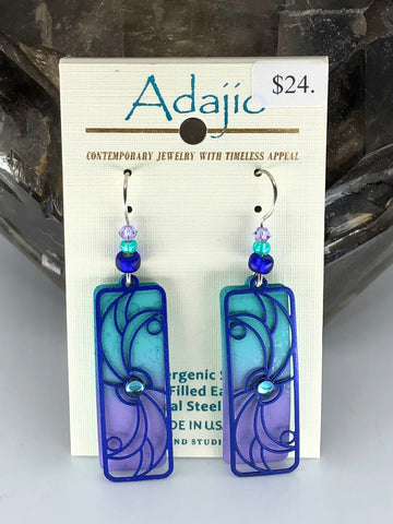 Adajio Earrings- Blue/Purple background with Blue overlya
