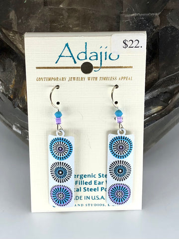 Adajio Earrings-Blue and white flower