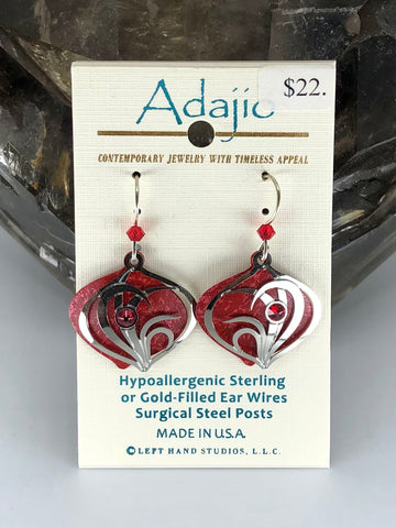 Adajio Earrings-Red with silver tone overlay