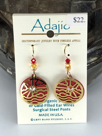 Adajio Earrings-Burnt red round with brass overlay
