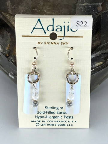 Adajio Earrings-Light blue bar with beads and rings