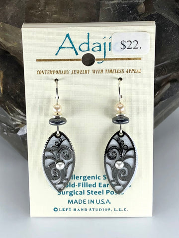 Adajio Earrings-White with black swirl overlay