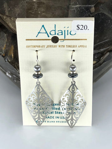 Adajio Earrings-Silver tone rolled cutout