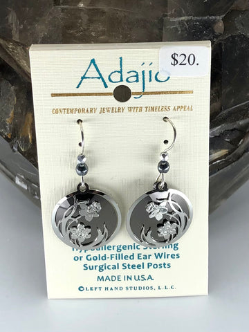 Adajio Earrings-Grey round with silver tone flower overlay