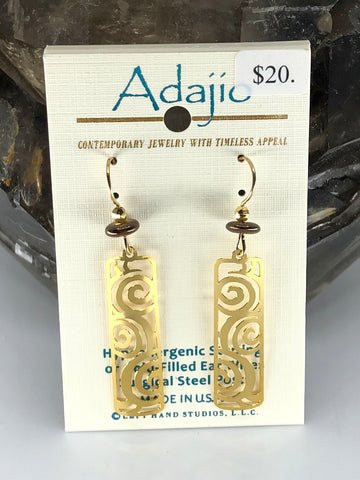 Adajio Earrings-Gold tone cutout with bead accents