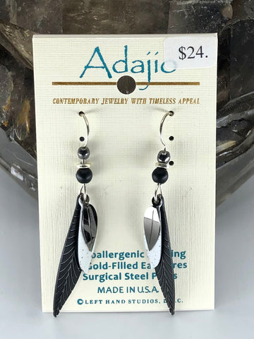 Adajio Earrings-Black/white leaves with silver tone leaf