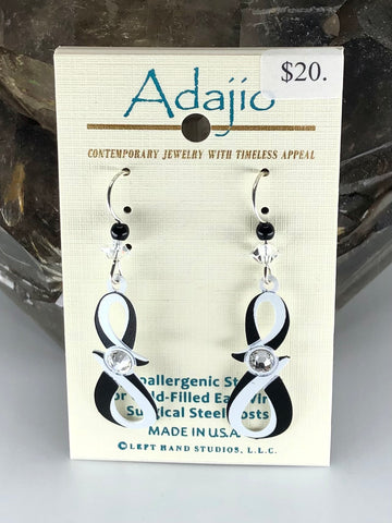 Adajio Earrings-Black and white infinity twist