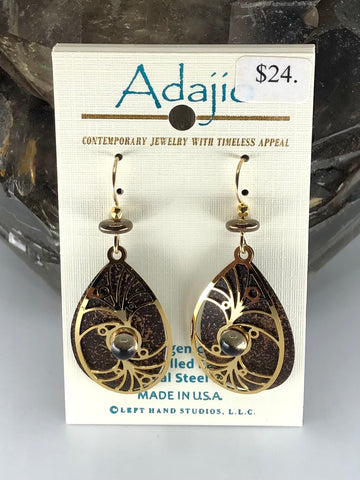 Adajio Earrings-Bronze/Brown teardrop with gold tone overlay
