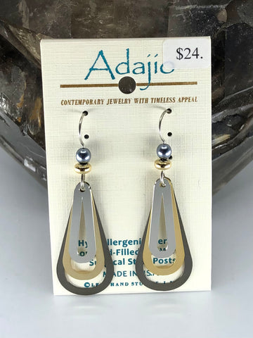 Adajio Earrings-Multi tone layered teardrop