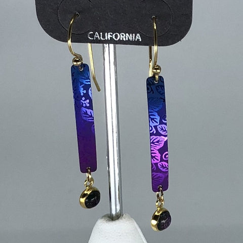 Holly Yashi Earrings - Purple/Blue with leaf design and crystal