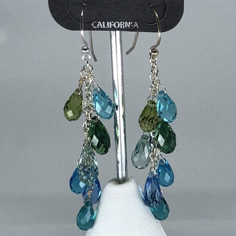 Holly Yashi Earrings - Faceted crystal beads on silver chain