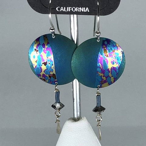 Holly Yashi Earrings - Blue/Green round with bead accents