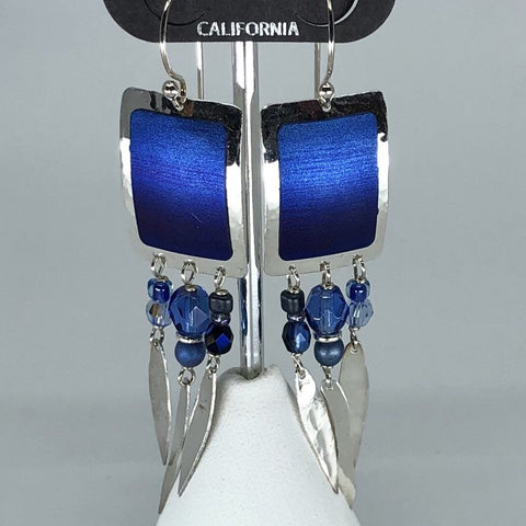 Holly Yashi Earrings - Blue and silver tone with bead accents