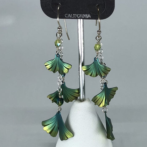 Holly Yashi Earrings - Green flowers on silver chain
