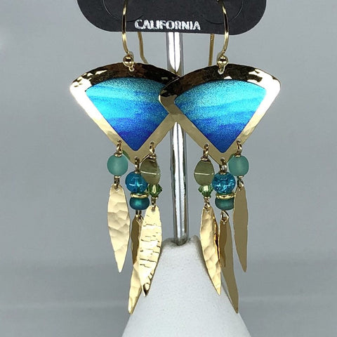 Holly Yashi Earrings - Blue and gold tone with bead accents