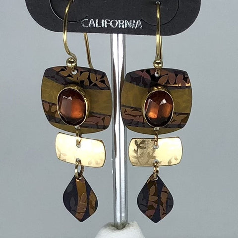 Holly Yashi Earrings - Brown and bronze tone with stone