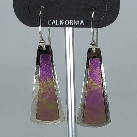 Holly Yashi Earrings - Purple with silver tone border
