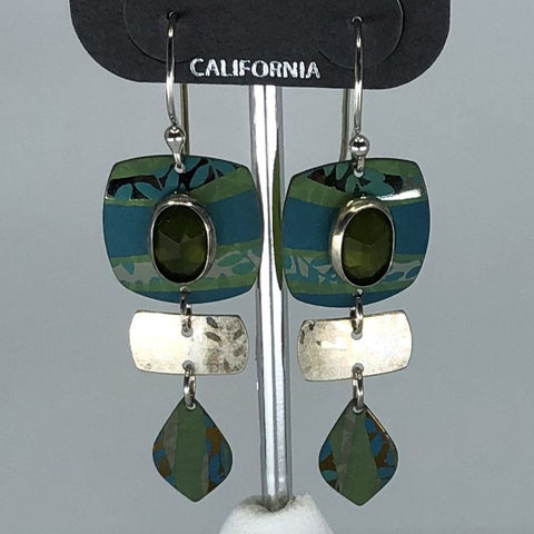 Holly Yashi Earrings - Green with silver tone and stone