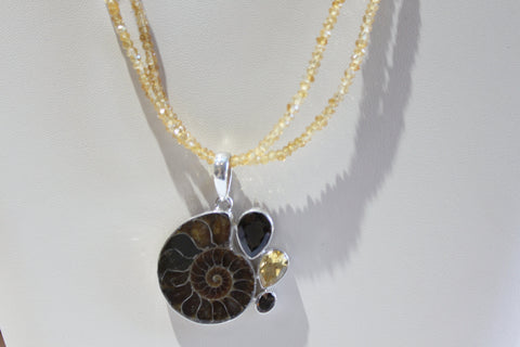 Ammonite & Citrine Necklace