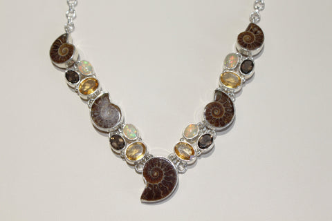 Ammonite, Opal, Citrine Necklace