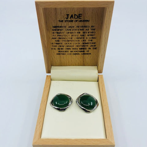 Jade Earrings - Round with metal accent
