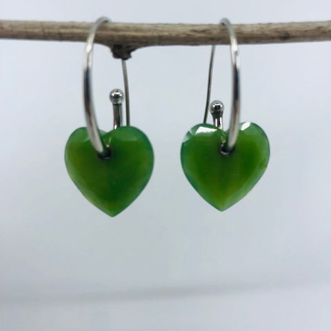 Jade Earrings - Hearts
