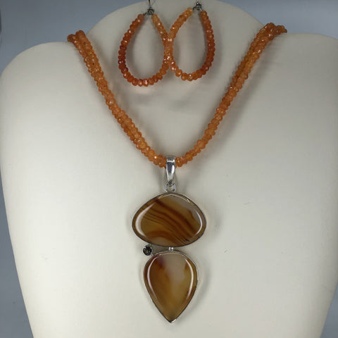 Carnelian Necklace & Earrings