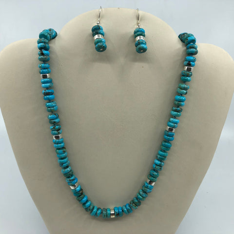 Turquoise and Sterling Necklace and Earrings