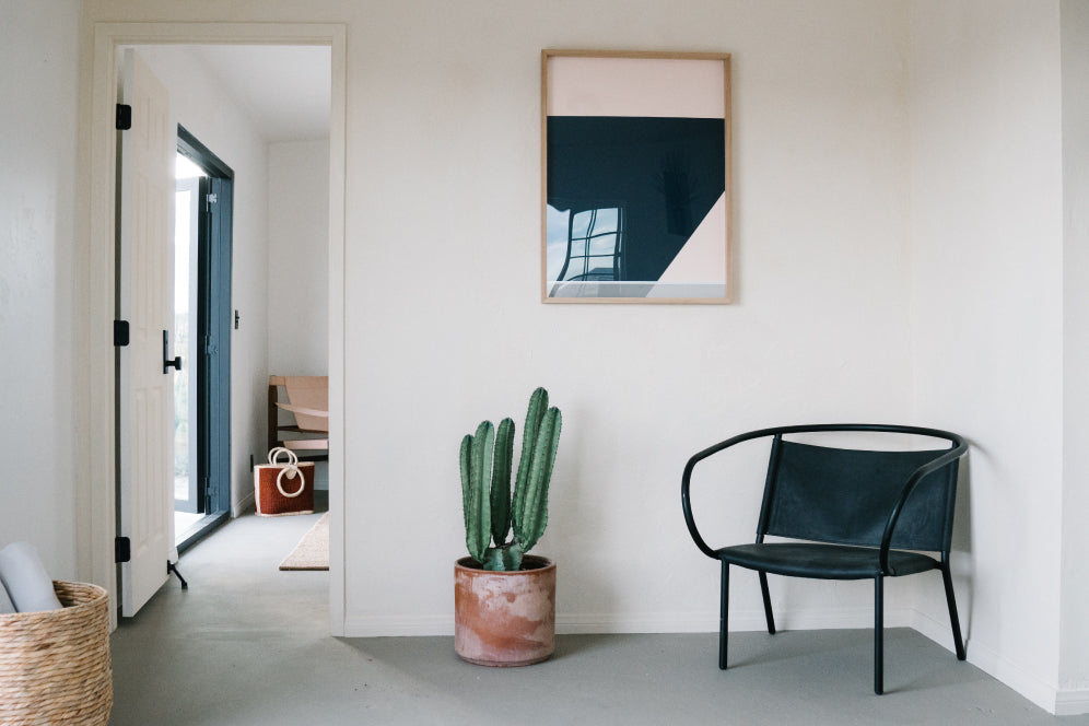 Wall with chair, cacti, and framed picture