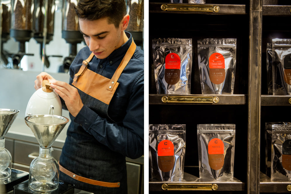 Barista pouring water into brewer with close up of coffee beans on display
