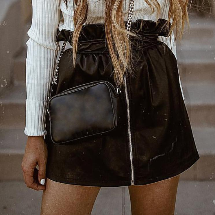 RUFFLE BLACK SKIRT