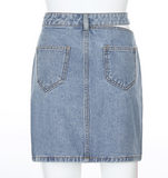 CUT OUT DENIM SKIRT