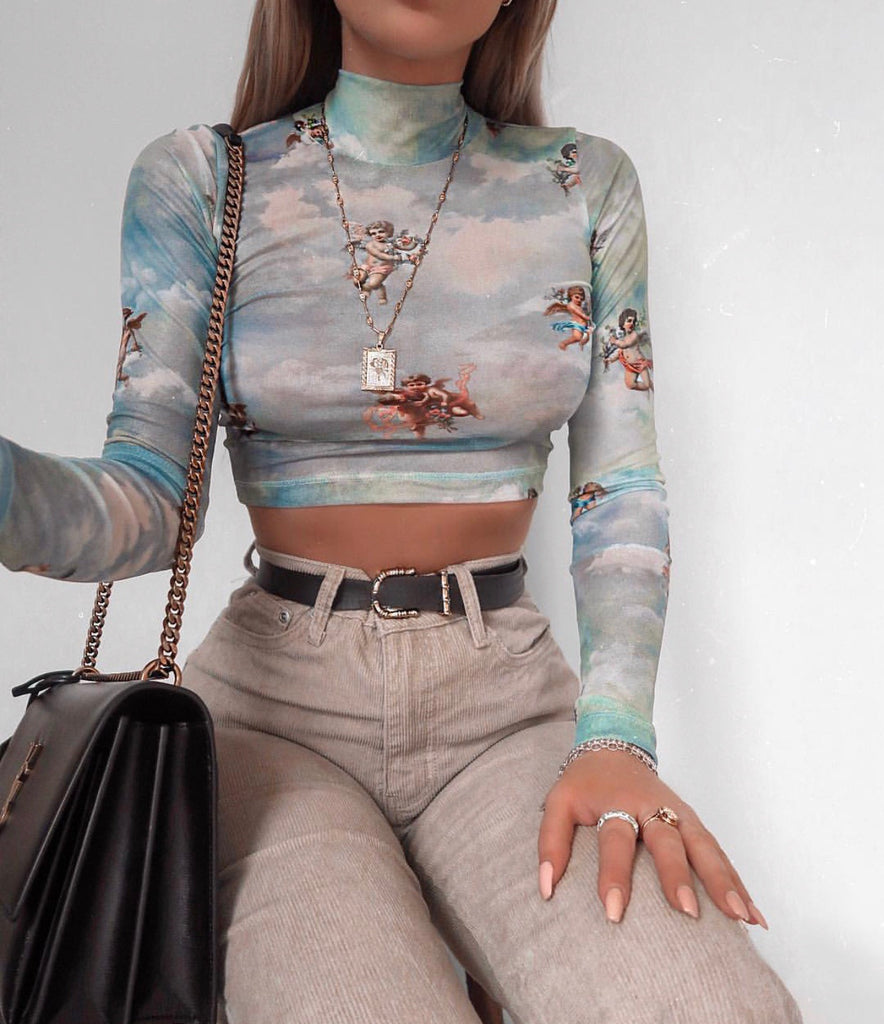 YOU ANGEL MESH LONG SLEEVE TOP
