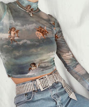 Load image into Gallery viewer, YOU ANGEL MESH LONG SLEEVE TOP