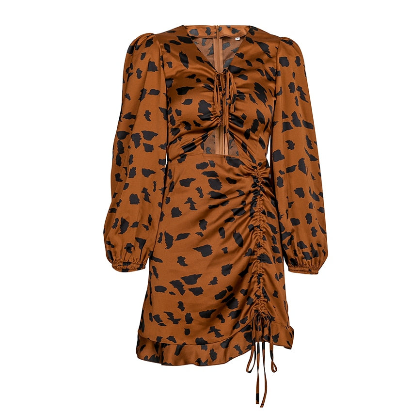 LEOPARD SATIN DRESS