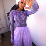 PURPLE FLAMES MESH TOP