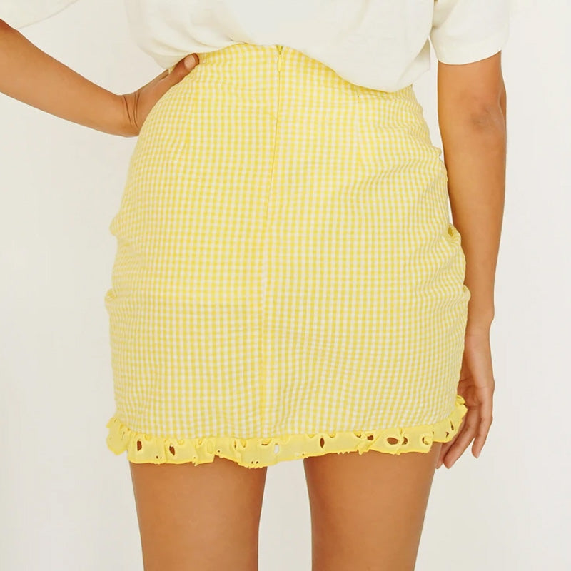 BANANA PLAID SKIRT
