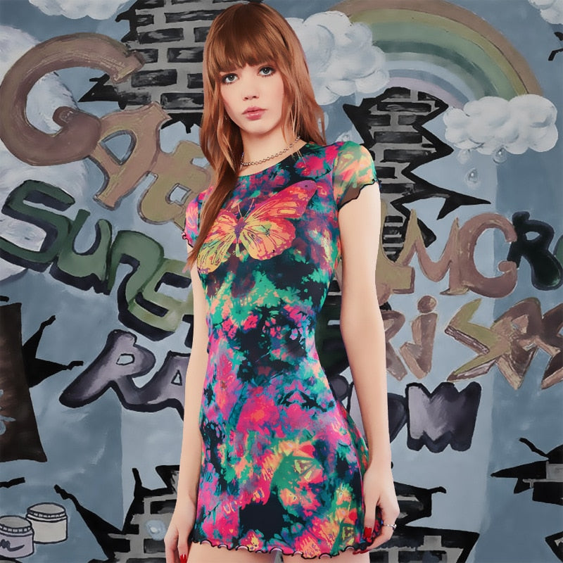TIE DYE BUTTERFLY DRESS