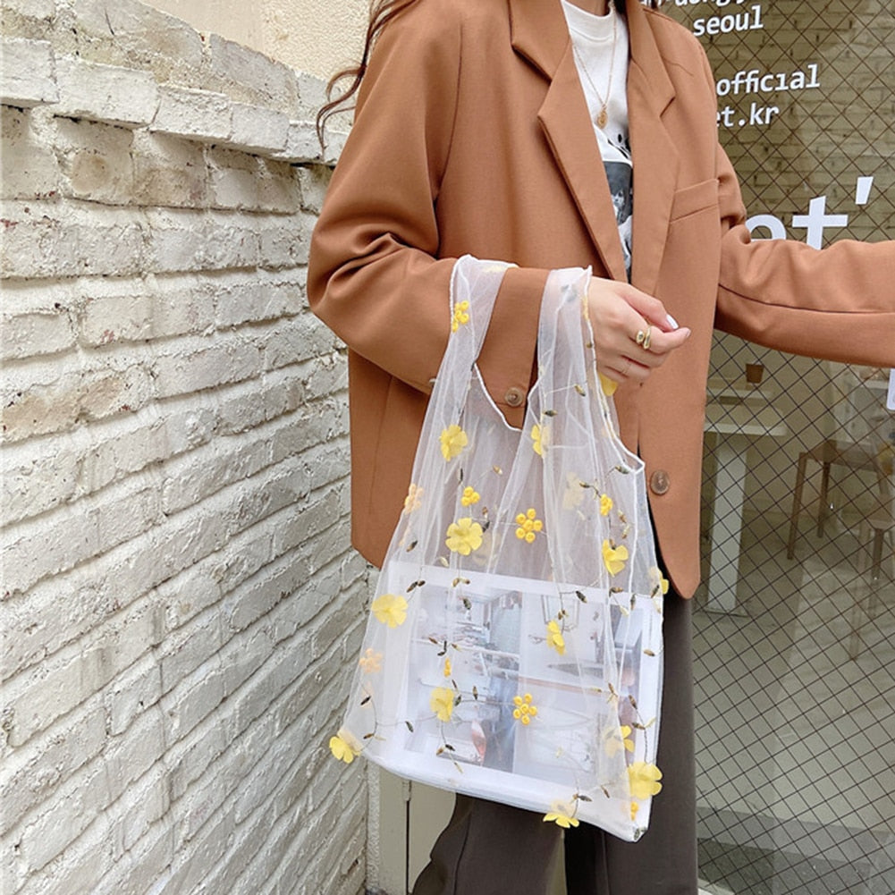 FLOWER EMBROIDERED REUSABLE BAG