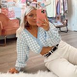 GINGHAM CROPPED SWEATER