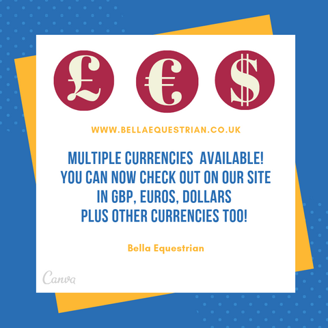 Multiple Currencies Available At Bella Equestrian