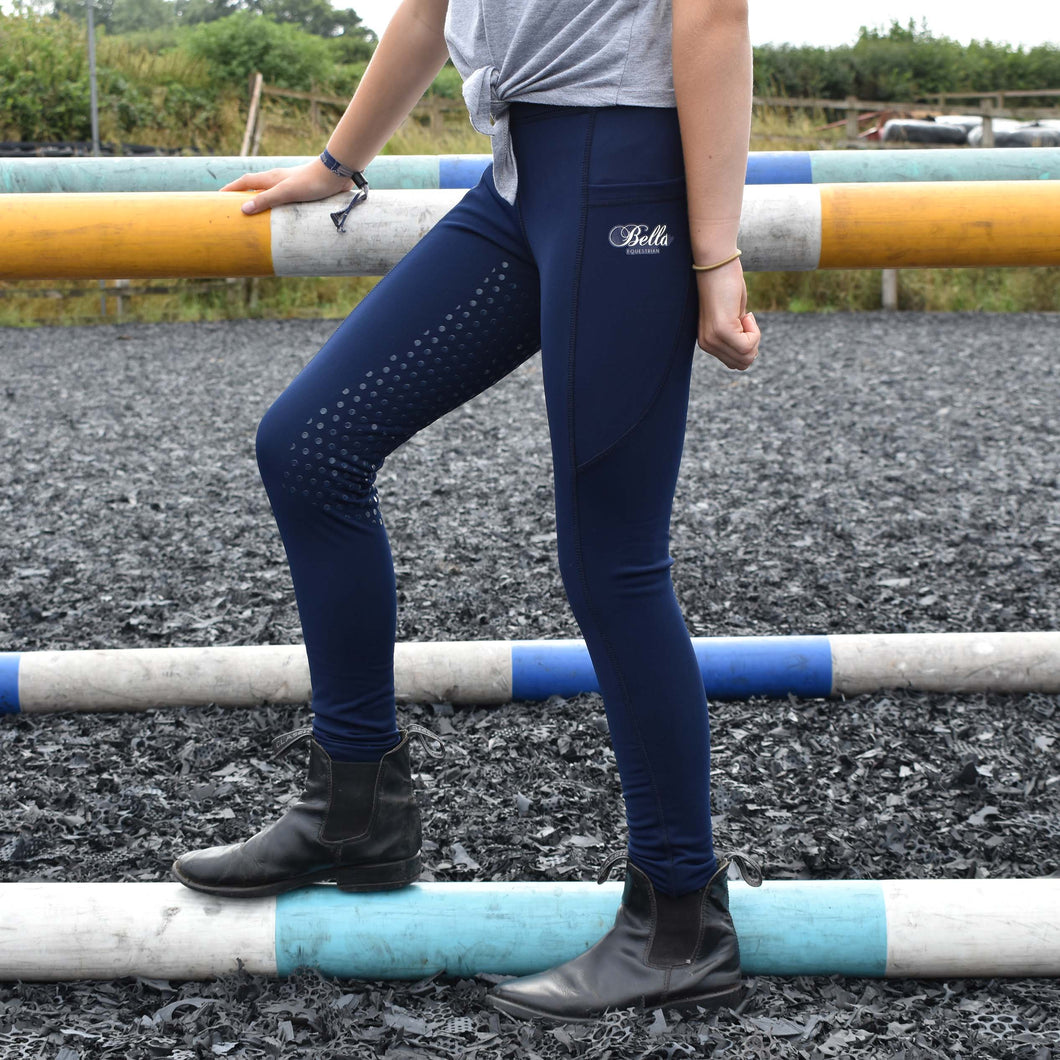 Childrens Sport Riding Tights/Leggings - Navy