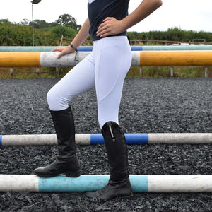 Childrens Competition Sport Riding Tights/Leggings - White