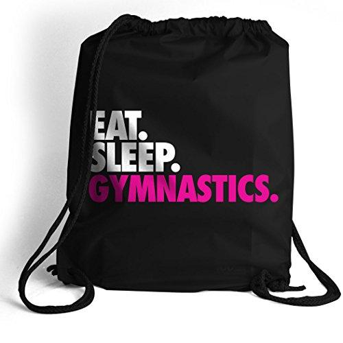Eat. Sleep. Gymnastics. Cinch Sack | Gymnastics Bags by ChalkTalk SPORTS | Black - Eatsleepflip