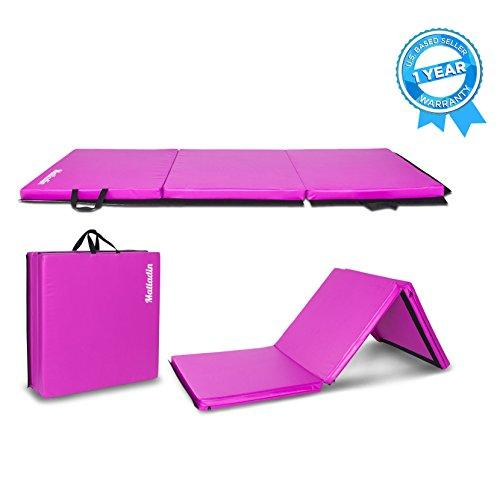 "Matladin 6' Folding Tri-fold Gymnastics Gym Exercise Aerobics Mat, 6'x 2'x 2""PU Leather Tumbling Mats for Stretching Yoga Cheerleading Martial Arts Purple - Eatsleepflip"