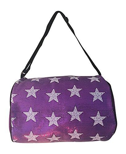 Girls Dance Duffle White Sequin Star Bag (Purple) - Eatsleepflip