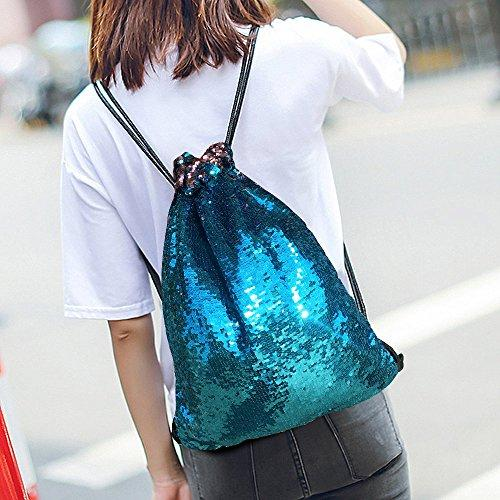 Alritz Mermaid Sequin Drawstring Bag, Reversible Sequin Backpack Glittering Outdoor Shoulder Bag Girls Boys Women (Blue/Purple) - Eatsleepflip