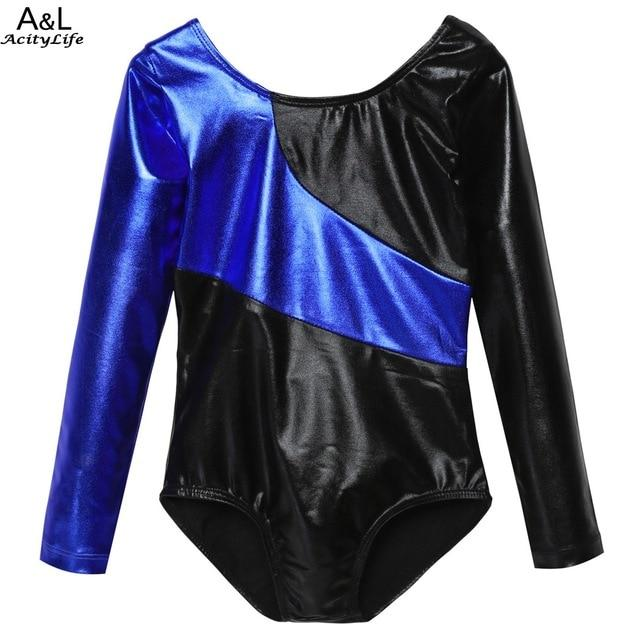 New Kids Girls Long Sleeve Gymnastic Elastic Contrast Color Patchwork Leotard Dancewear