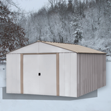 Oakbrook 10 x 14 ft. Coffee/Eggshell Steel Storage Shed