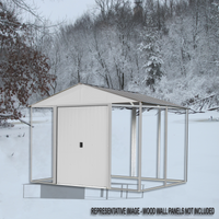 Ironwood  8 x 8 ft. Cream Galvanized Steel Hybrid Shed Kit
